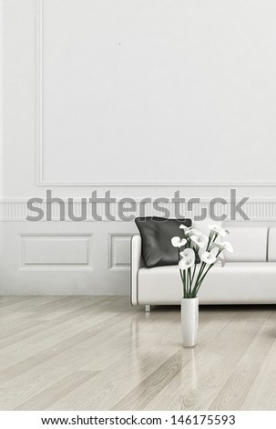 3d rendering of modern couch in a white living room interior - stock photo