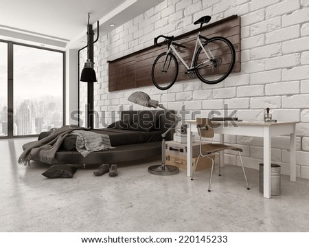 3D Rendering of Modern Loft Style Bedroom in Apartment with Exposed Brick Wall, Desk, and Bicycle Hanging Up - stock photo