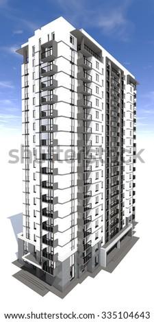 3d rendering of modern multi-storey residential building - stock photo