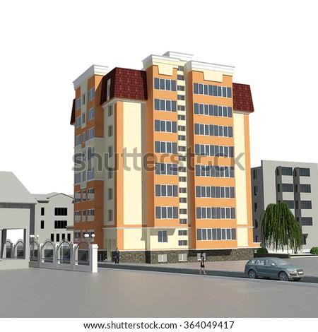 3d rendering of modern multi-storey residential building on white - stock photo