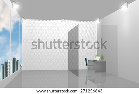 3D rendering of modern office interior with large windows - stock photo