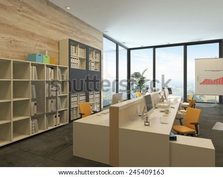 3D Rendering of Modern open-plan office with multiple workstations in a spacious room with floor-to-ceiling windows and bookcases with files along one wall - stock photo