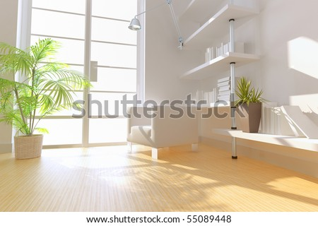 3D rendering of modern study room. - stock photo