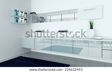 3D Rendering of Modern Style white bathroom furniture - stock photo