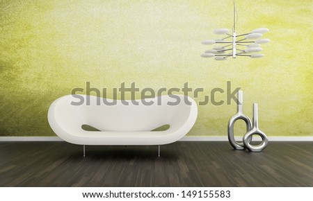 3D rendering of modern white couch against lime green wall - stock photo
