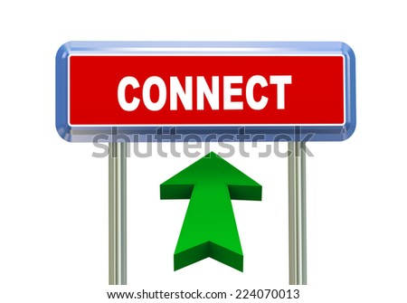 3d rendering of moving arrow and roadsign signpost of of concept of connect - stock photo
