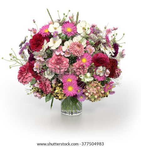 3d rendering of multi coloured flowers in vase on white background  - stock photo