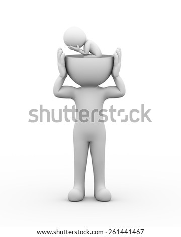 3d rendering of open head man with upset sad person inside it presenting family problems, thoughts, financial troubles. 3d white people man character. - stock photo