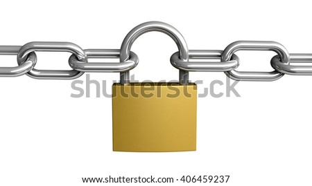 3d rendering of padlock and chain isolated on white background - stock photo