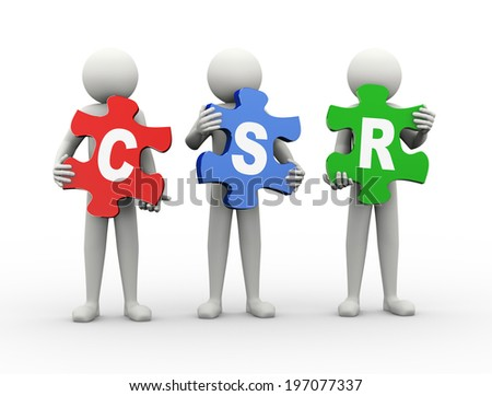 3d rendering of people holding puzzle pieces of csr - corporate social responsibility. 3d white people man character. - stock photo