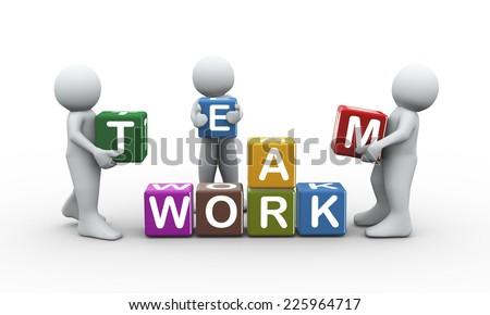 3d rendering of people placing team work text cubes. 3d white people man character - stock photo