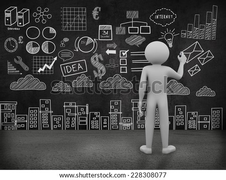 3d rendering of person drawing business concept sketch on the wall. 3d white people character - stock photo