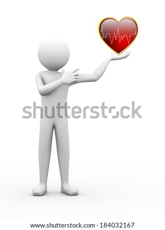 3d rendering of person holding and pointing to healthy heart with ecg graph.  3d white people man character. - stock photo