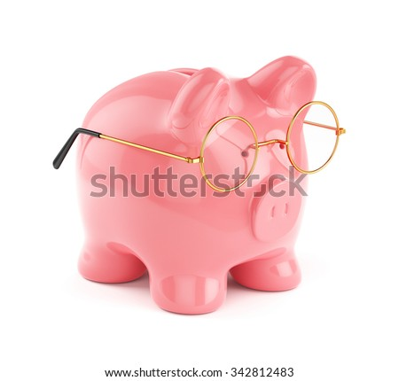 3d rendering of piggy bank in golden eyeglasses isolated on white background. Financial concept - stock photo