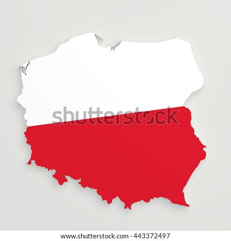3d rendering of Poland map and flag on white background. - stock photo