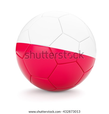 3d rendering of Poland soccer football ball with Polish flag isolated on white background - stock photo