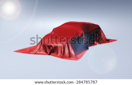 3d rendering of presentation of new car covered with red fabric cloth - stock photo