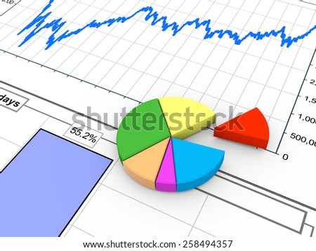 3d rendering of progress bar and pie chart on financial analysis report - stock photo