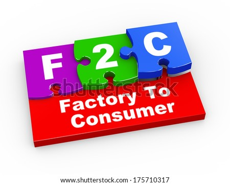 3d rendering of puzzle pieces presentation of f2c - factory to consumer - stock photo
