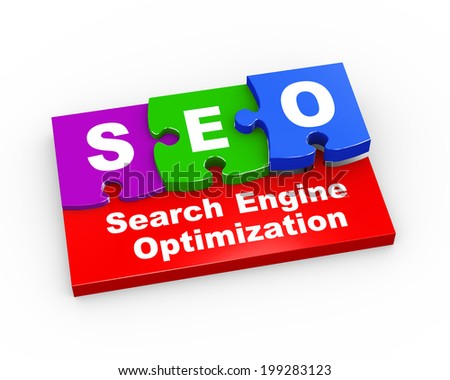3d rendering of puzzle pieces presentation of seo - search engine optimization - stock photo