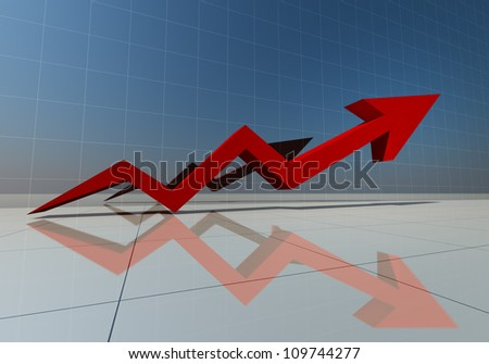 3d rendering of red arrow graph high isolated - stock photo