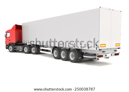3d rendering of red cargo truck over white background. - stock photo