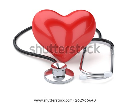 3d rendering of red heart and stethoscope isolated on white background - stock photo