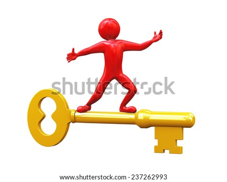 3d rendering of red man riding on large shiny golden key. 3d people man character. - stock photo