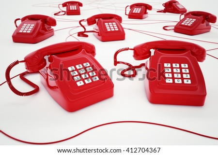 3D rendering of red telephone - stock photo