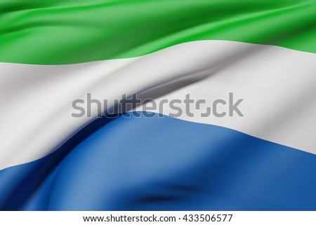 3d rendering of Republic of Sierra Leone flag waving - stock photo