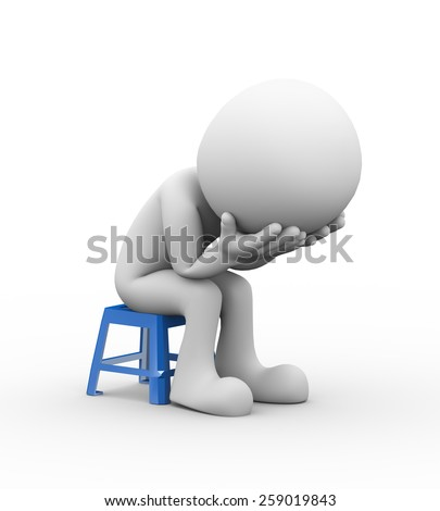 3d rendering of sad frustrated depressed man sitting on plastic stool. 3d white people man character - stock photo