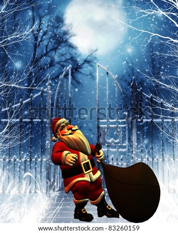 3d rendering of Santa Claus with sack draw as illustration - stock photo