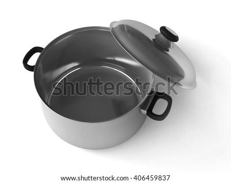 3d rendering of saucepans on white background - stock photo
