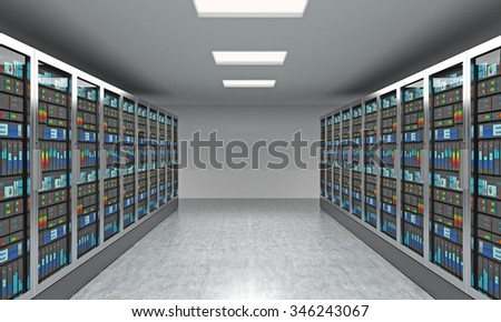 3D rendering of server for data storage, processing and analysis, two rows of machines at work with colour screens demonstrating graphs and diagrams - stock photo