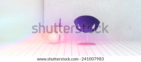 3D Rendering of Single Chair and Vase Decorations Inside an Empty White Room Illuminated by Light. - stock photo