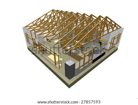 3D rendering of small house with furniture - stock photo