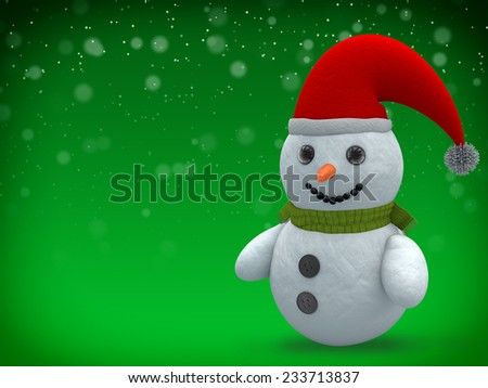 3d rendering of snowman with scarf and cap over green background. - stock photo