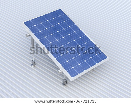 3d rendering of solar panel conceptual illustration - stock photo
