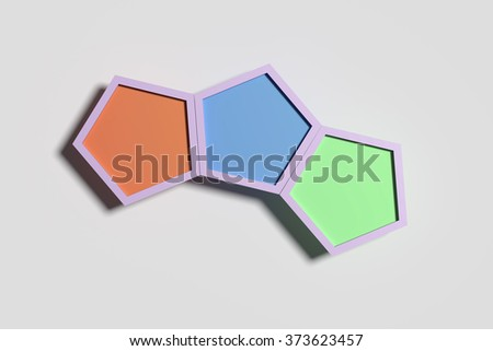 3d rendering of some pentagons casting shadow. The middle is red. - stock photo