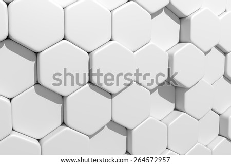 3d rendering of some white hexagons - stock photo