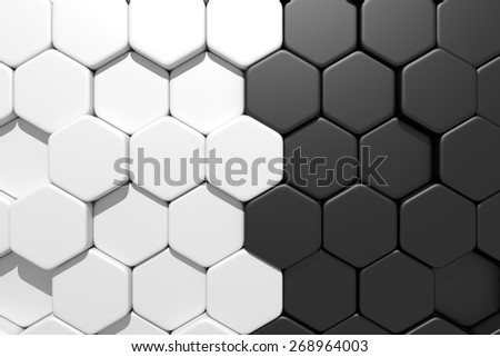 3d rendering of some white hexagons and  blacks - stock photo