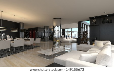3D rendering of spacious living and dining room - stock photo