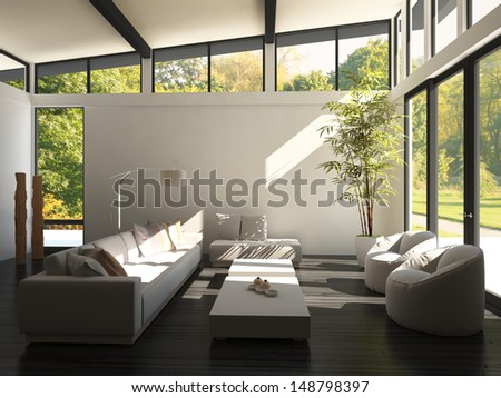 3D rendering of spacious living room - stock photo