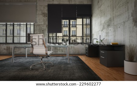 3D Rendering of Stark modern office interior with grey walls, minimalist furnishing and large feature windows with blinds overlooking a commercial urban building - stock photo