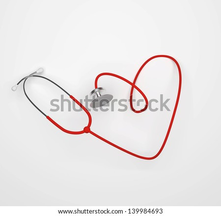 3D rendering of stethoscope in shape of heart - stock photo