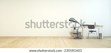 3D Rendering of Student workspace in a minimalist room with a small table, chair, freestanding lamp, waste paper basket and vintage suitcases against a white floor with a wooden floor, and copy space - stock photo