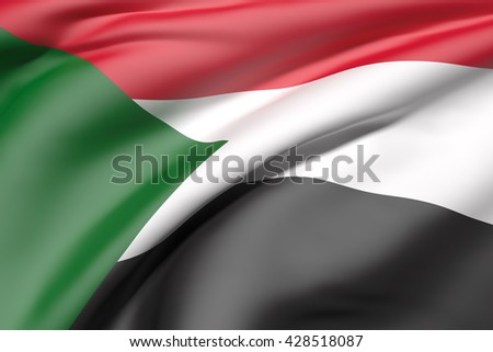3d rendering of Sudan flag waving - stock photo