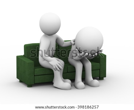 3d rendering of supporting man consoling and comforting sad frustrated depressed man sitting on sofa.  - stock photo