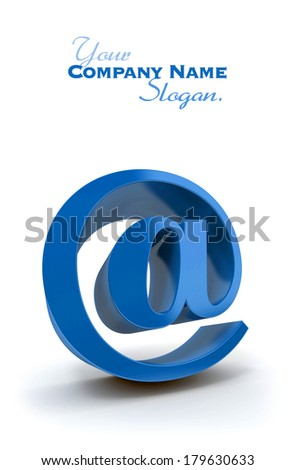 3D rendering of the at symbol in blue on a white background - stock photo