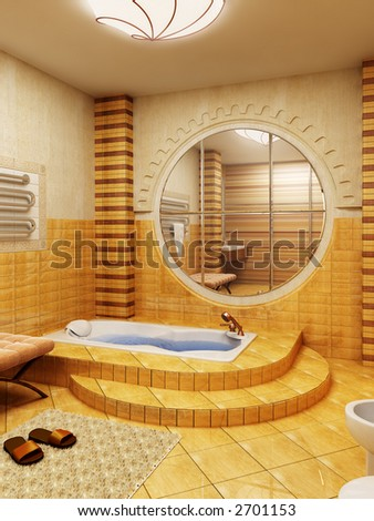 3d rendering of the bathroom interior in Morocco's style - stock photo